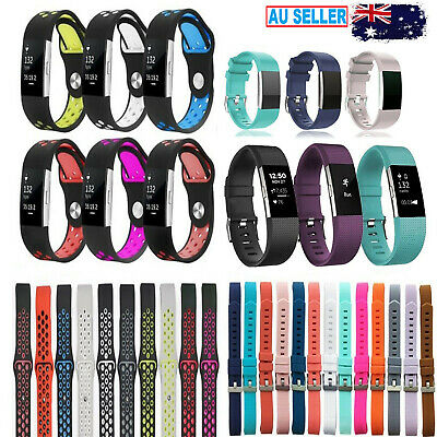 AU7.99 • Buy Fitbit Charge 2 Replacement Band Strap Sports Football Wristband Metal Buckle HR