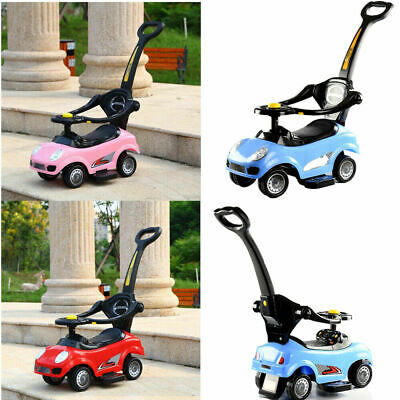 Kids Children 3in1 Musical Ride On Car Walker Push Along Toy With Parent Handle • 30.99£