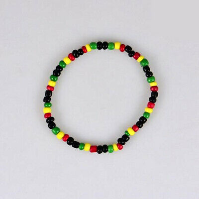 $5.49 • Buy 2pc Seed Bead Marley Rasta Reggae Punk Hiphop Elastic Stretch Unisex Bracelet