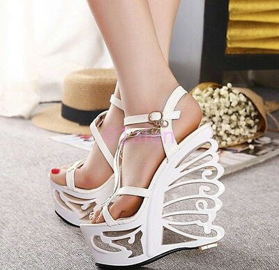 £40.73 • Buy Chic Women Hollow Out Wing Wedge Heel Strappy Open Toe Sandal Clubwear Shoes