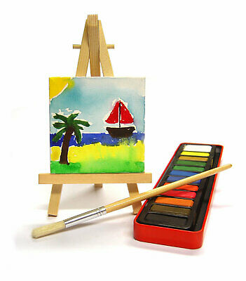 Mini Canvas 3 X 3 Inch And Wooden Easel Gift, Menu, Party, Wedding Table Topper • 2.99£