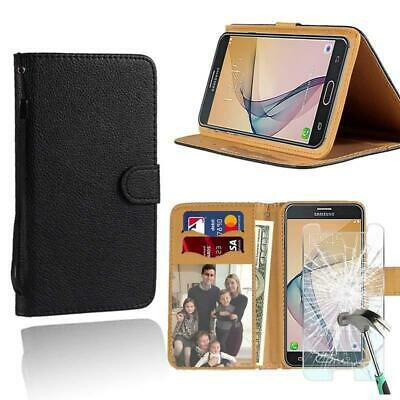 AU7.49 • Buy For Samsung Galaxy Phones -Leather Wallet Case + Tempered Glass Screen Protector