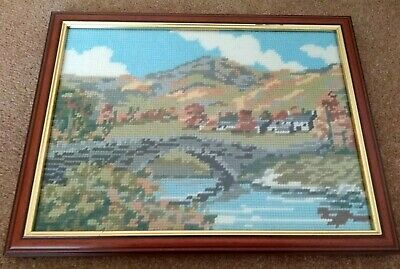 £15 • Buy Framed Crewel Cross Stitch Countryside Picture Hills Bridge Embroidery Finished