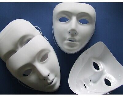 10 White Plastic Full Face Craft Masks For Kids To Decorate | Masks To Decorate • 9.45£