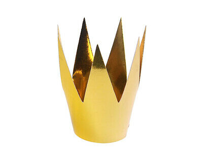 £2.67 • Buy 3 Mini 10cm Gold Card Crown Party Hats | Kids Birthday Party Hats