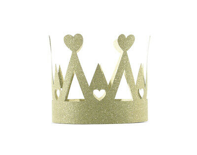 £2.94 • Buy Small Gold Glitter Card Crown Party Hat - Heart Design