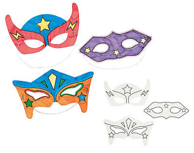 12 Colour In Superhero Masks For Kids Arts & Crafts To Decorate • 7.83£