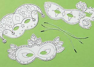 12 Mardi Gras Colour In Masks For Kids To Decorate For Crafts • 8.62£