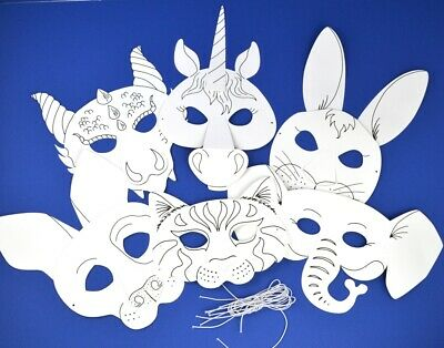 6 Animal Colour In Card Masks For Kids To Decorate For Crafts • 8.32£
