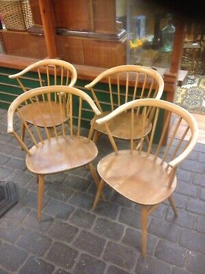 Vintage SET Of 4 ERCOL Windsor Light Blonde COWHORN Arm Dining Chairs • 874.99£