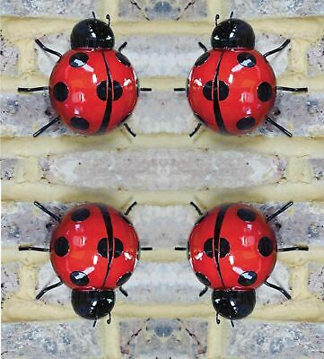 4 X Giant Garden Ladybird Fence Wall .Tree Mounted METAL Ornament Decorations • 14.99£