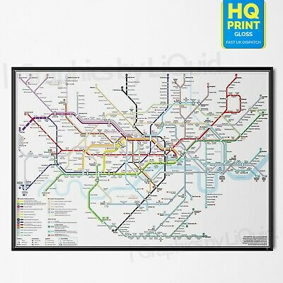 £12.99 • Buy Detailed London Underground Tube Train Map Poster Print | A4 A3 A2 A1 |
