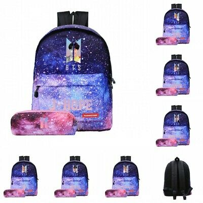$26.99 • Buy Fashion Bangtan Boys BTS Starry Purple Backpack Shoulder Bag School Travel 2pcs