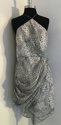 Zimmermann Sheer Silk Chiffon Metallic Thread Floral Draping Dress Sz 2   NWT • 185$