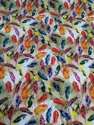 £6.10 • Buy  100% Cotton Fabric By The Half Metre Colourful Feathers