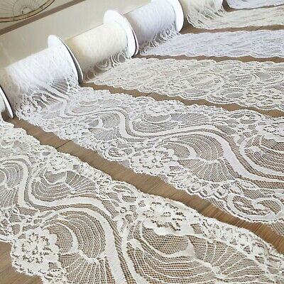 Delicate Lace Trim Ribbon 4  Wide White/Ivory Vintage Wedding Fabric Edge PER 1M • 2.59£