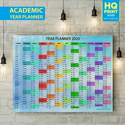 A1 A2 A3 A4 Size 2020 ACADEMIC Wall Planner Holidays Work Birthdays New Years • 2.99£