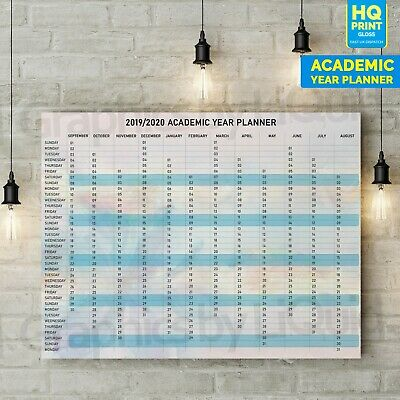 A1 A2 A3 Large 2020 ACADEMIC Year Wall Planner Holiday New Years Home Office • 1.99£