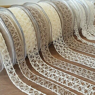 Beautiful Guipure Lace Trim Fabric Edge Ivory Cream Grey Flower Floral PER METRE • 1.99£