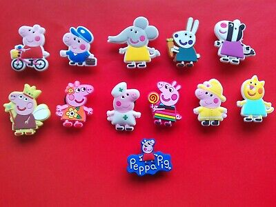 CHEAPEST 12 Peppa Pig Cute Jibbitz Crocs Shoe Charms Clogs Cake Decorations SALE • 3.50£