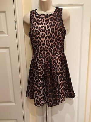Top Shop Skater Dress, Brown And Black Animal Leopard Print, Party/occasion 10 • 5£