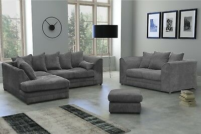 New Milo Fabric Jumbo Cord Grey Corner Sofa And 3+2 Seater+Swivel Chair Sofa • 399.99£