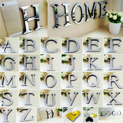 Acrylic Mirror 26 Alphabet Letters Name Plaques For Childrens Bedroom Door Wall~ • 1.14£