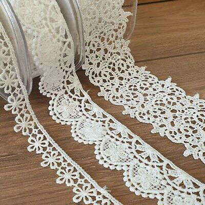 Premium Satin Lace Trim Guipure Ribbon Beautiful Designs Vintage Edge Per 1M • 3.49£