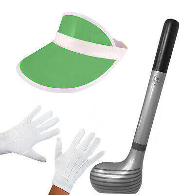 Pub Golf Visor Hat White Gloves Inflatable Club 92cm Stag Do Fancy Dress Costume • 7.99£