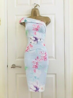 £10.39 • Buy LIPSY Sky Blue Floral Evening Party Occasion Races Ruched Midi Wiggle Dress £65