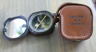 $165 • Buy Vintage US United States Military M2 Compass W/ Leather Case WWII Kueffel Esser