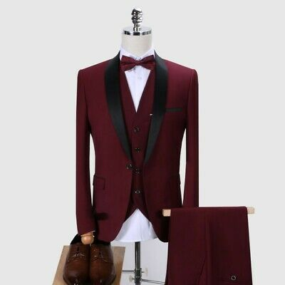 $ CDN170.14 • Buy Mens 3PCS Tuxedo Jacket Vest Pants Wedding Formal One Button Outfit Costume Suit