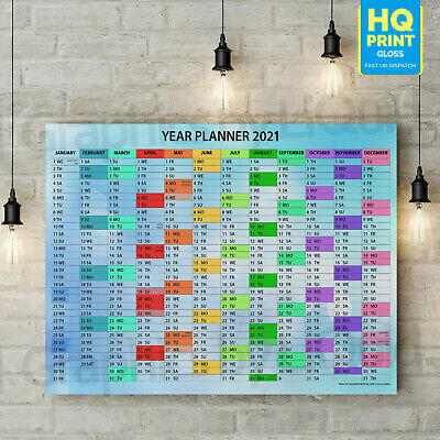 2020 Wall Calendar Blue Planner For Students, Office | A4 A3 A2 A1 | • 2.99£