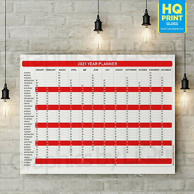 2020 Year Planner Annual Wall Chart In Red ✔Staff ✔Holidays | A4 A3 A2 A1 | • 2.99£