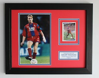 FRAMED Geoff Thomas In Crystal Palace Shirt SIGNED Photo Card Display Gifts COA • 69.95£