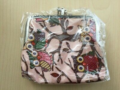 Women's Ladies Girls Oilcloth Pink Owl Coin Purse Wallet *NEW* • 2.99£