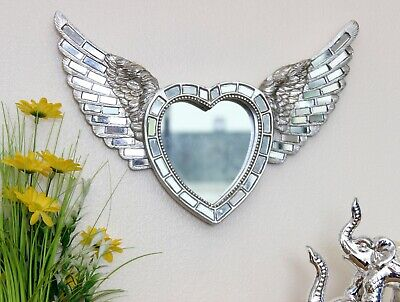 Antique Silver Mosaic Heart Angel Wings Shabby Chic Ornament Mirror Wall Art  • 15.99£