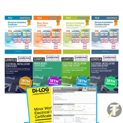 18th Edition Electrical Certificate Report Books 18TH EDITION Kewtech, Leaderman • 13.50£