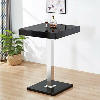 £209.95 • Buy Topaz Glass Top Bar Table In Black High Gloss Stainless Steel