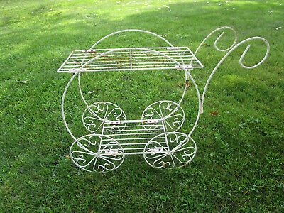 Vtg Mid Century Modern Metal Wire Plant Stand 2 Tier FLOWER CART STYLE • 99.99$