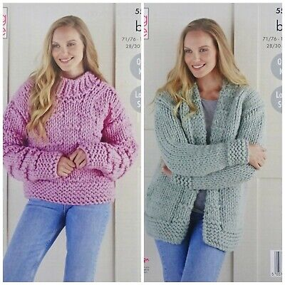 KNITTING PATTERN Ladies Easy Knit Jumper & Cardigan Mega Chunky King Cole 5531 • 3.95£