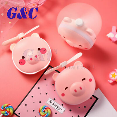AU6.53 • Buy Mini Handheld Cooling Fan LED Makeup Mirror Air USB Rechargeable