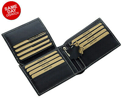 AU22.50 • Buy Mens GENUINE Leather Wallet Slim RFID Blocking Trifold Pocket Purse Card Holder