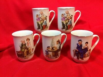 $ CDN9.52 • Buy Lot Of FIVE Norman Rockwell Inspired Coffee Mugs, 4 Different Scenes 1986 Museum
