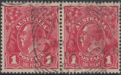 AU12 • Buy Stamps 1d Red KGV Pair 1915 Victor Harbour South Australia Postmark