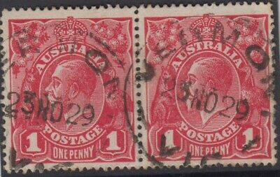 AU27 • Buy Stamps Australia 1d Red KGV Pair 1929 VERMONT Victoria Postmark Very Late Use