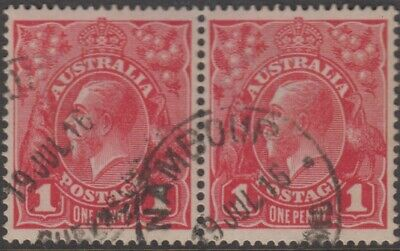 AU10 • Buy Stamps Australia 1d Red KGV Pair With 1916 Nambour Queensland Postmark