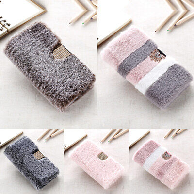 Faux Fur Fluffy Cover Bling Diamond Wallet Case For IPhone XS Max 8 7 6 SE XR XS • 5.99£