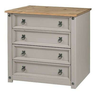 £79.99 • Buy Corona Chest Of Drawers 4 Drawer Grey Wax Small Solid Pine By Mercers Furniture®