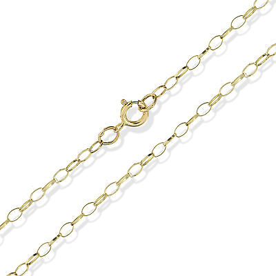 375 9ct Gold Belcher Chain 20  Fine Oval Rolo Trace Pendant Necklace Gift Box • 46.99£